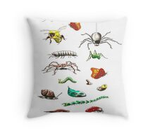 Insects & friends leggings Throw Pillow