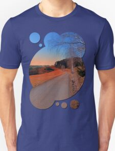 Country road into a beautiful sunset at Auberg | landscape photography Unisex T-Shirt
