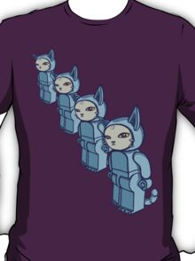 4 Blocky Cat Robot Blue T-Shirt
