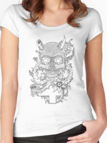 Demonic skull Women's Fitted Scoop T-Shirt