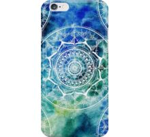 White Circle Mandala on Blue Watercolour iPhone Case/Skin