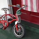 Red Radio Flyer Bicycle with frog wind chimes by ElfinYeti