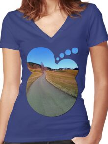 Country road through rural scenery | landscape photography Women's Fitted V-Neck T-Shirt