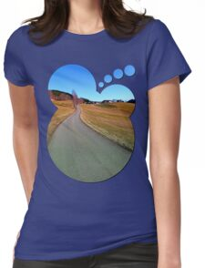 Country road through rural scenery   landscape photography Womens Fitted T-Shirt