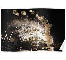 Sydney New Year Eve 2009 Fireworks - Gold & white Poster