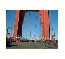 Doubledecker Bus on the Golden Gate Bridge Art Print