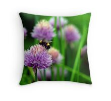Bumblebee on Purple Flower Throw Pillow