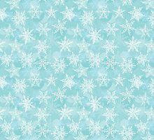 Seamless winter background with white snowflakes by EkaterinaP