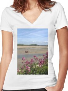 Boat At Low Tide At Padstow, Cornwall Women's Fitted V-Neck T-Shirt
