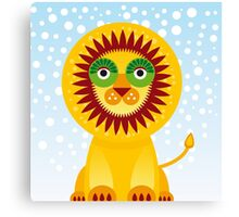 Funny cartoon lion and sky background.  Canvas Print