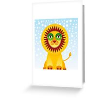 Funny cartoon lion and sky background.  Greeting Card