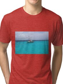 Sailing Serenity in the Azure Waters of the Caribbean Tri-blend T-Shirt
