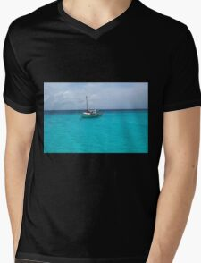 Sailing Serenity in the Azure Waters of the Caribbean Mens V-Neck T-Shirt