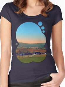 Avenue with trees, sunset and panorama | landscape photography Women's Fitted Scoop T-Shirt