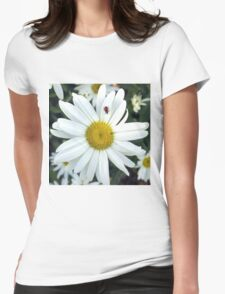 White Daisy Flower and Ladybug  T-Shirt