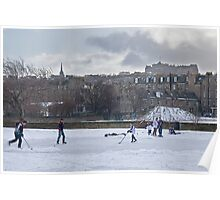 Ice Hockey and Edinburgh Castle Poster