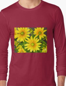 Yellow Summer Cone Flowers in the Garden Long Sleeve T-Shirt