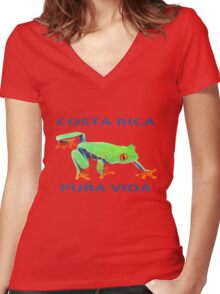 Red eyed tree frog Costa Rica Women's Fitted V-Neck T-Shirt