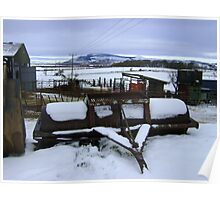 Farmyard metal - Christmas day snowscape Poster