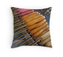 Sausage On A Stick Throw Pillow
