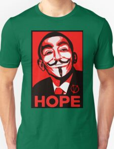 V for Vendetta, Anonymous Mask Obama Sign, HOPE Unisex T-Shirt