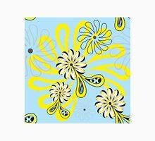 Blue Yellow Flower Paisley Black Polka Dot Unisex T-Shirt