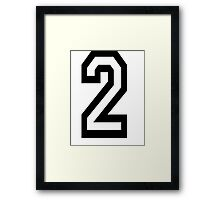 TEAM SPORTS, NUMBER 2, TWO, 2, SECOND, Twice, Duo, Couple, Competition Framed Print