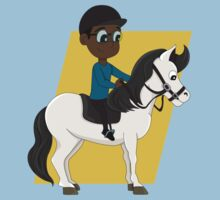 Boy riding a horse cartoon Kids Tee