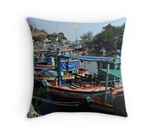 Fishing Harbour Throw Pillow