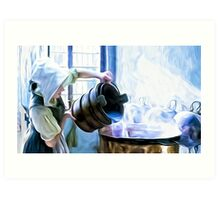 Chores of a chambermaid Art Print