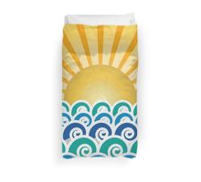 Sunrise and Blue Ocean Waves Duvet Cover