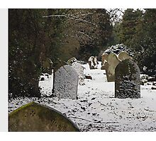 Gravestones in the snow Photographic Print