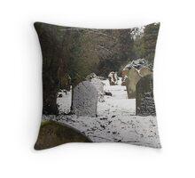 Gravestones in the snow Throw Pillow