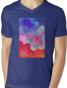 Between the Lines 2 - tropical flowers in purple, pink, blue & orange Mens V-Neck T-Shirt