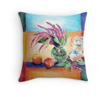 Flowers, Teacups and Apples Throw Pillow