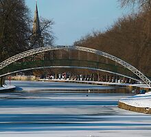 Suspension Bridge over River Great Ouse, Bedford in the Snow by Greg Webb