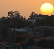 Sunset over the suburb by hans p olsen