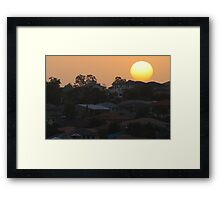 Sunset over the suburb Framed Print