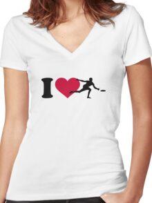I love Disc golf Women's Fitted V-Neck T-Shirt