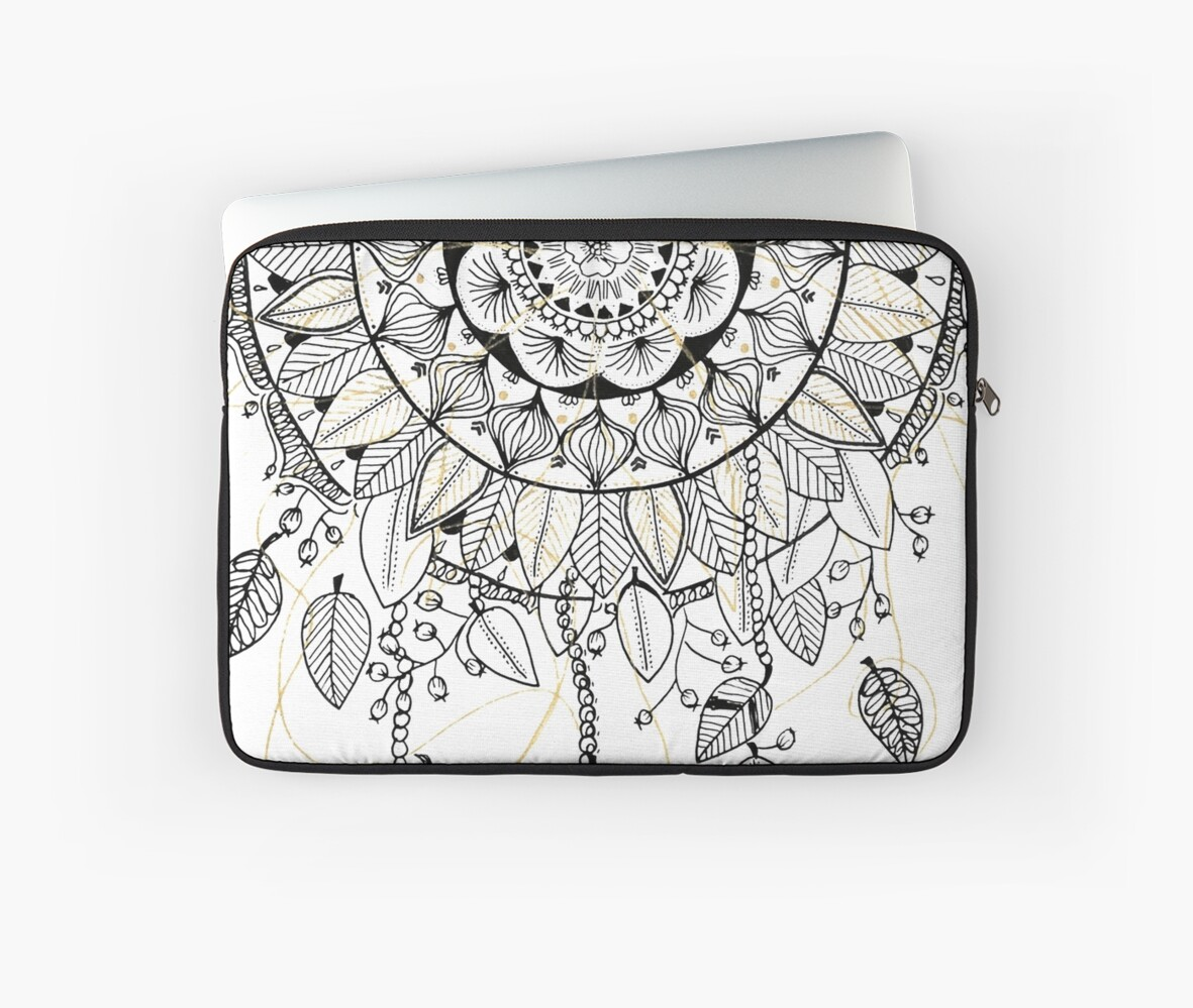 mandala dreamcatcher attrape r ve laptop sleeves by aveam art redbubble. Black Bedroom Furniture Sets. Home Design Ideas