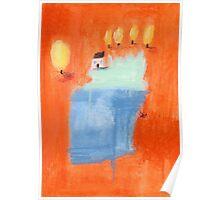 Orange blossoms lakeside cottage. Poster