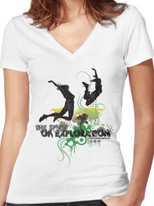 Spirit of Exploration - Green and Gold Women's Fitted V-Neck T-Shirt