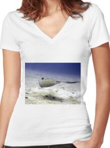 Sting Ray at Play Women's Fitted V-Neck T-Shirt