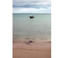 lone dingy at island beach Photographic Print