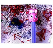 Goofy Pink Bunny Poster