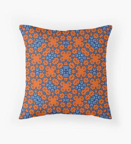 Orange Blue pattern Throw Pillow