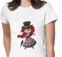 Beauty red-haired girl with umbrella Womens Fitted T-Shirt