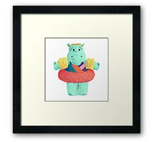 Nervous Beachy Hippo Framed Print