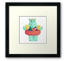 Nervous Beachy Hippo Framed Print