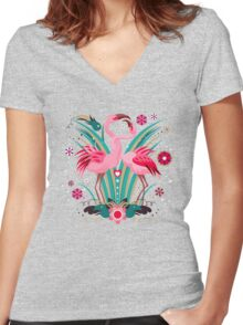 LOVE & FLAMINGO  Women's Fitted V-Neck T-Shirt